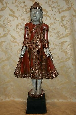 "Incredible Antique Thai Style Wooden Buddha w/ Red Robe 46"" Tall Pedestal Base"