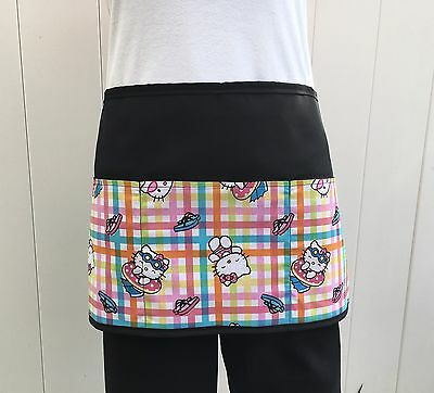 Black HELLO KITTY  server waitress waist apron 3 pocket  restaurant  cafe bar