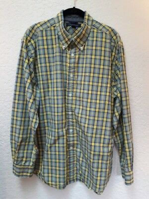 e41d10b8897 Tommy Hilfiger Mens XL Blue and Yellow Plaid Shirt Button Front Long Sleeve