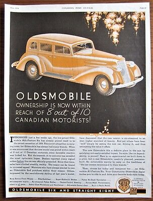 1934 Canadian Car Ad Canada Oldsmobile Art Deco Style Model Six