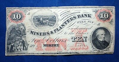 1860 $10 N.C The Miners & Planters Bank Note