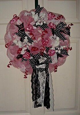 Deco Mesh Wreath-Poodles-Pink-Polka Dots-Lace-Bows-Ribbons-Every Day Decor