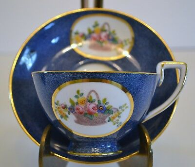 Crown Staffordshire Henry Birks And Sons Bone China Cup And Saucer Indigo Blue