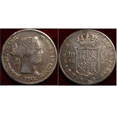 **scarce**1865 20 Centimos Philippines Under Spanish Rule*only 239.000 Minted