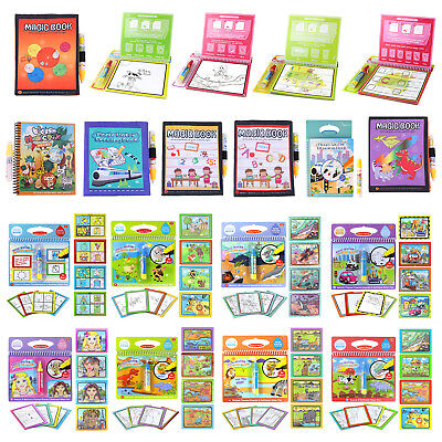 Reusable Water Paint Coloring Book+Magic Doodle Drawing Pen Kids Educational Toy
