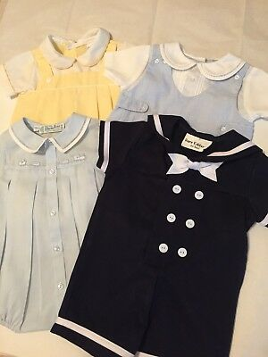 Lot of 4 Vintage Baby Boy Rompers - size 6 months