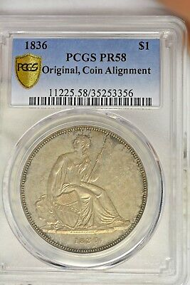 1836 $1 Gobrecht Original Coin Alignment Pcgs Pf58; Super Nice Original