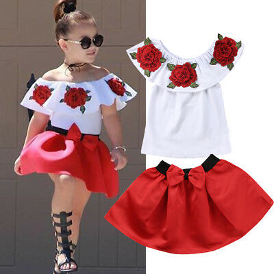 US Kids Fashion Summer Girl Off Shoulder Tops Casual Party Shirt Mini Tutu Skirt