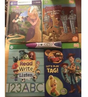 Lot of 4 Leap Frog Tag Reader Books and Stylus Pen Interactive Reading System