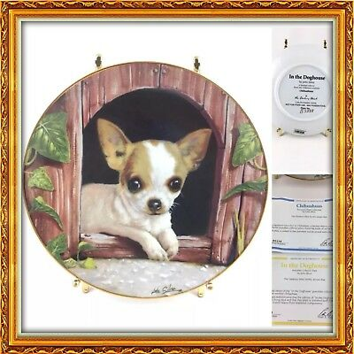Danbury Mint Chihuahua In the Doghouse Limited Edition Retired Plate - Mint