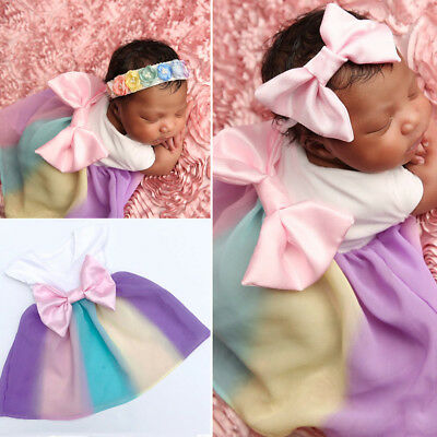 Baby Girl Kid Newborn Toddler Infant Bowknot Dress Summer Clothes 2PCS Outfit US