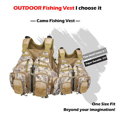 Camo Fly Fishing Vest Outdoor Sports Vest Adjustable Multi Pocket Mesh Bag