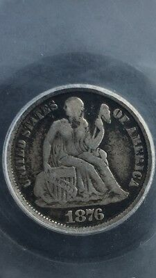 1876 CC Seated Liberty Dime Doubled Die Obverse R5 Top 100 #71 Rare!