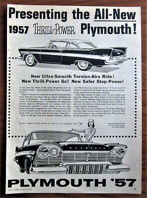 Stunning 1957 Canadian Plymouth Car Newspaper Ad Made In Canada Chrysler