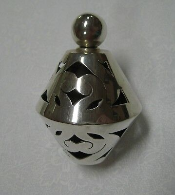 Vintage Mexican Perfume Bottle with Sterling Silver Overlay