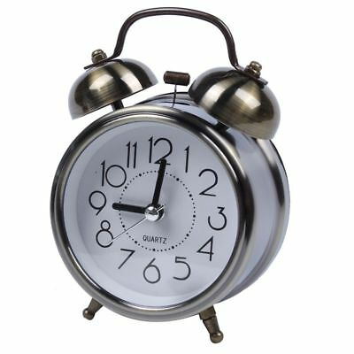 Classic Retro Silent Non Ticking Quartz Double Twin Bell Alarm Clock Moveme I7B2