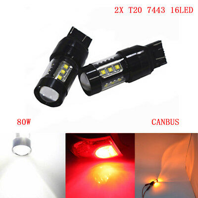 2× T20 7443 W21/5W 16 Cree Canbus LED Tail Bulbs Stop Brake Light Reserve 80W
