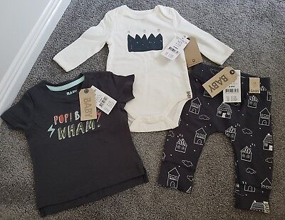 COTTON ON BABY BOY BUNDLE tights one piece & top - size 00 (3-6 mths) rrp $47
