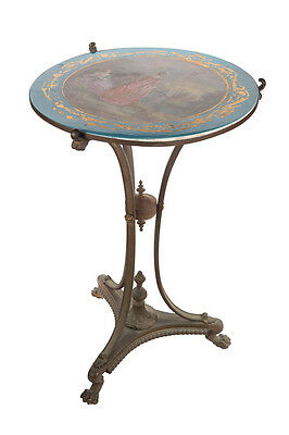19th century painted porcelain French side table Sevres style with bronze mount