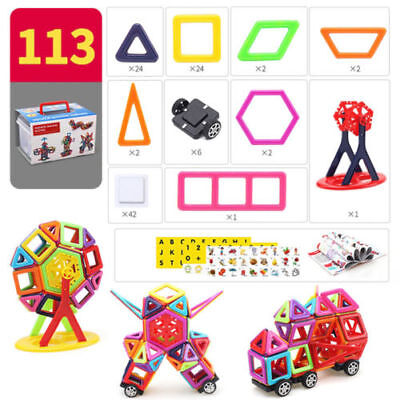 113 Piece Kids Magnetic Blocks Building Toys For Boys Girls Magnet Tiles Kits AU
