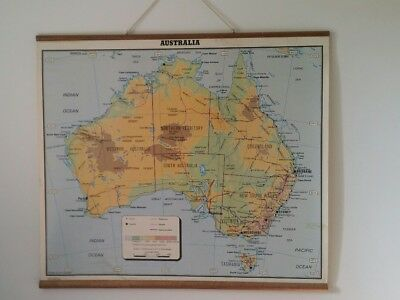 Vintage wall hung map of Australia