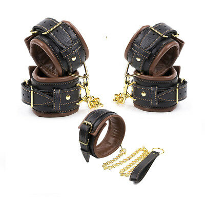 Brown Black Padded Pu Leather Wrist-Ankle-Cuffs Handcuff Collar Restraint Toy
