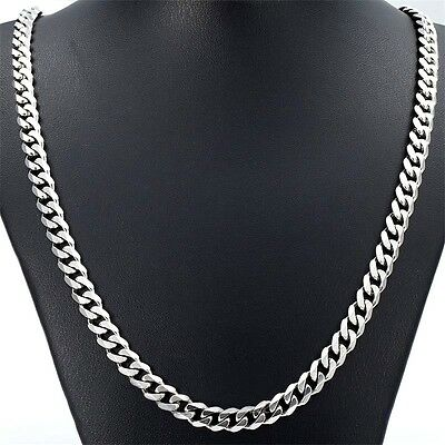 "Men Jewelry 5/7MM 20""/22""24"" Stainless Steel Silver Curb Cuban Chain Necklace UK"