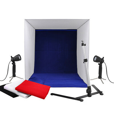 "24"" Photo Studio Soft Box Light Cube Tent Lighting Kit 4x Backdrops Foldable"