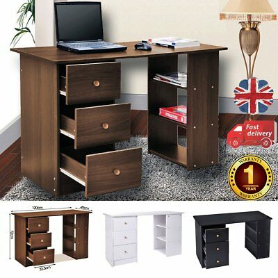 Computer Desk PC Table With 3 Drawers & Shelves Home Office Furniture Study Desk
