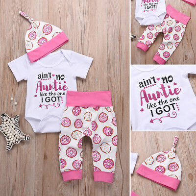 AU Newborn Baby Girl Boys Romper Playsuit+Pants Jumpsuit Bodysuit Clothes Outfit