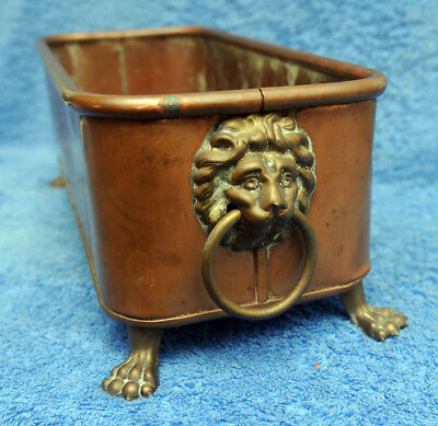 "Vintage Copper Footed Planter With Lion Head Handles 12"" Long"