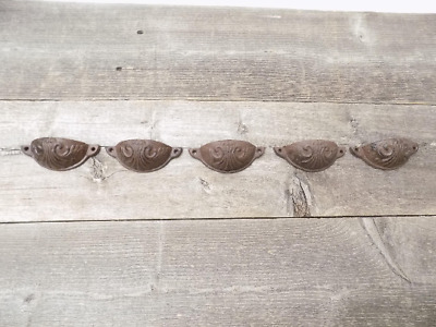 "5 Cast Iron Brown 3 3/4"" Cup Pulls Drawer Cabinet Bin Handles Rustic Vintage"