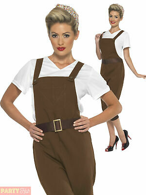 Ladies WWII Land Girl Costume Adults 1940s Wartime Fancy Dress Womens 40s Outfit