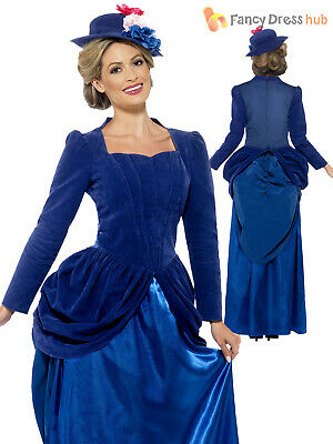 Ladies Deluxe Victorian Lady Mary Nanny Fancy Dress Costume Adult Book Week Day