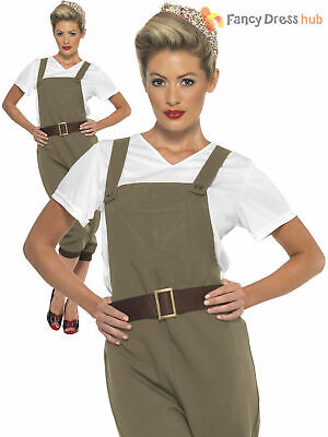 Adults WW2 1940s Land Girl Ladies Army World War 2 Fancy Dress Costume Outfit