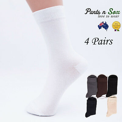 4 Pairs Mens Womens Black White Natural Bamboo Socks Antibiotic Business Socks