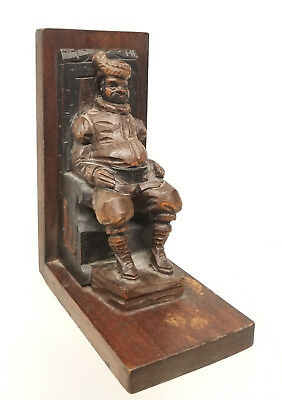 Antique Vintage Carved Wood Bookend Figure European Ouro Spain Figural