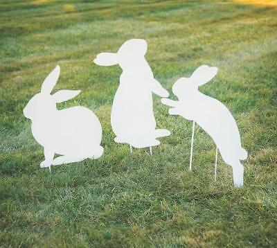 Set of 3 Easter Spring Festive Bunny Silhouette Lawn Garden Stakes Metal