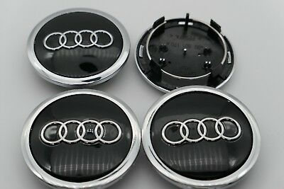 NEW 4pcS Audi Wheel Center Hub Cap Black Emblem Badge Logo 69mm, 4 pieces