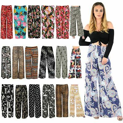 Women Ladies Palazzo Plain Flared Wide Leg Baggy Trousers Plus Size Free Postage