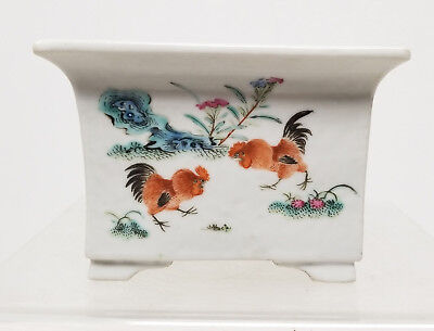 Antique Chinese 19th Century Republic Jardiniere Planter Rooster Enamel