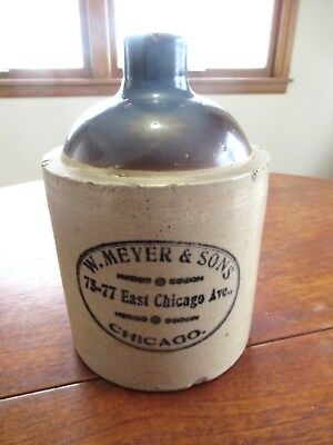 W. Meyer & Sons Chicago Macomb Pottery 1889 Whiskey Jug Crock