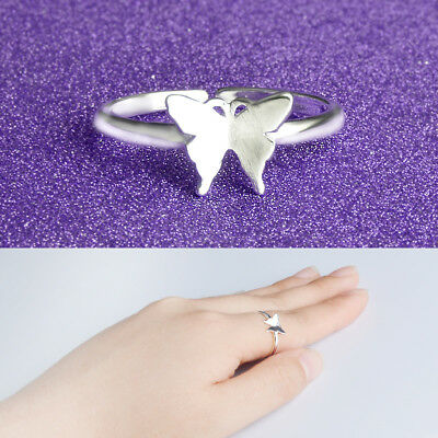 Thumb Ring Adjustable Ladies Gift 925 Silver Plt Lilac Crystal Heart Ring