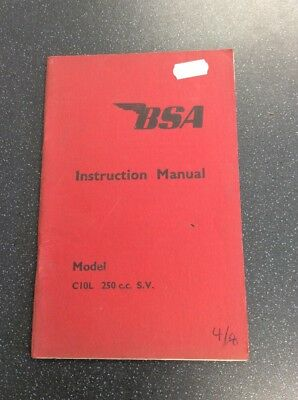 Bsa C10L 250cc S.V Instruction Manual