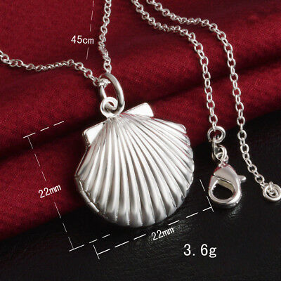 UK CONCH SEA SHELL 925 Silver PLT Photo Charm Pendant Chain Necklace With Chain