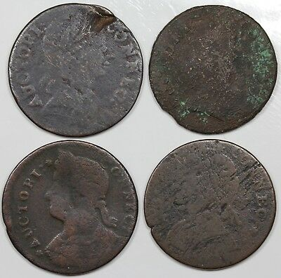 Lot of 4 Connecticut Coppers, 1785, 2x 1787, 1788, lower grades