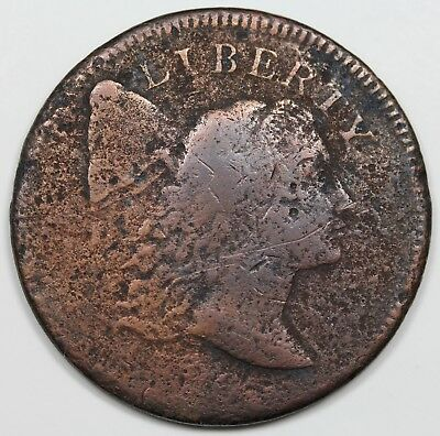 1796 Liberty Cap Large Cent, rare S-85, R.5-, VG detail