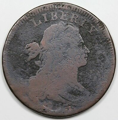 1797 Draped Bust Large Cent, Reverse of '97, Stems, rare S-142, R.5, G+ detail