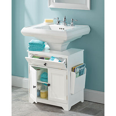 Pedestal Sink Storage Space Saver Organizer Shelf Vanity Bathroom