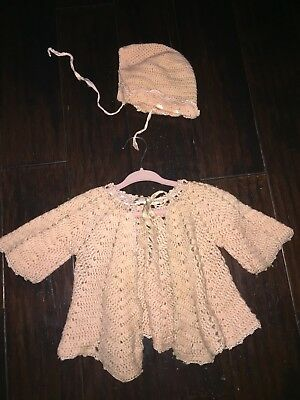 Vintage Baby Sweater And Hat 1950's, Knitted